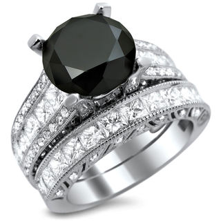 18k White Gold 5 3/4ct TDW Certified Black and White Round Diamond Bridal Set (E, VS1-VS2)