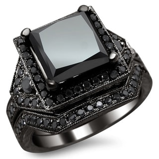 Noori 14k Black Gold 4 1/4ct Certified Princess-cut Black Diamond Engagement Ring Bridal Set