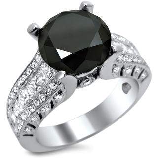 18k White Gold 4 2/5ct TDW Certified Black Diamond Round-cut Center Engagement Ring (E, VS1-VS2)