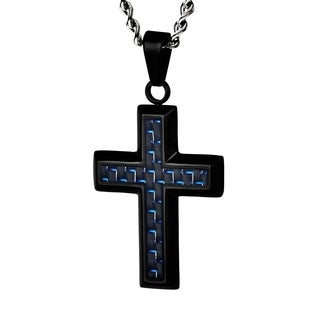 Crucible Black Plated Stainless Steel Black and Blue Carbon Fiber Cross Pendant Necklace