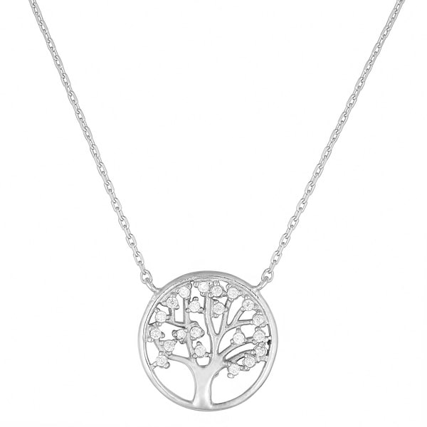 Fremada Sterling Silver Cubic Zirconia Tree of Life Necklace 18 inch 1596