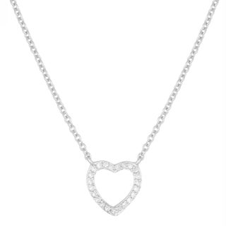 Fremada Sterling Silver Cubic Zirconia Heart Necklace (18 inch)