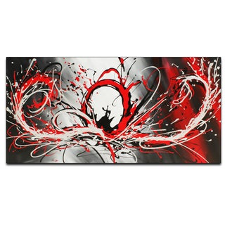 'Red Abstract Splash' Hand-painted Oil on Canvas