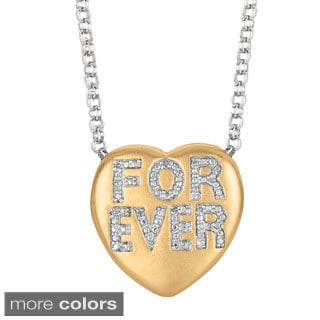 Sweethearts Diamond Accent 'Forever' Sentiment Heart Necklace (H-I, SI1-SI2)