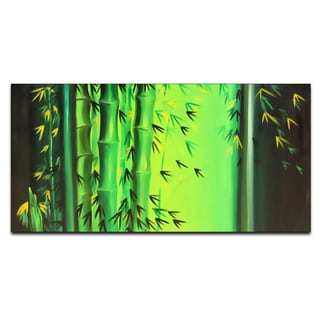 'Green Bamboo' Hand-painted Oil on Canvas Artwork