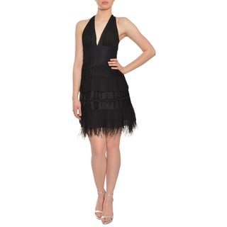BCBG Maxazria Women's Black Silk Tulle Feathers Cocktail Dress
