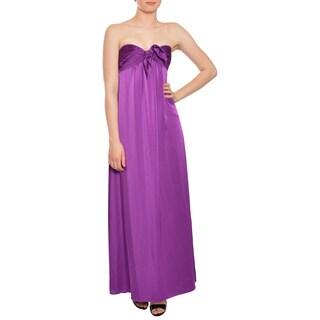 BCBG Maxazria Women's Orchid Satin Strapless Evening Gown
