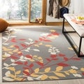 Safavieh Indoor/ Outdoor Hampton Dark Grey/ Rust Rug (8' x 11')