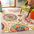 Safavieh Hand-loomed Cedar Brook Ivory/ Pink Cotton Rug (7'3 x 9'3)