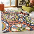 Safavieh Hand-loomed Cedar Brook Navy Blue/ Orange Cotton Rug (7'3 x 9'3)