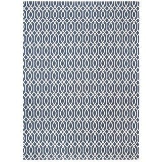 Hand-loomed Safavieh Cedar Brook Navy Blue/ Ivory Cotton Rug (7'3 x 9'3)