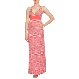 BCBG Maxazria Silk Woven Knit Halter Resort Maxi Dress Gown