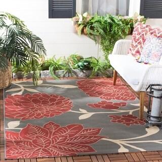 Safavieh Indoor/ Outdoor Courtyard Anthracite/ Beige Rug (5'3 x 7'7)