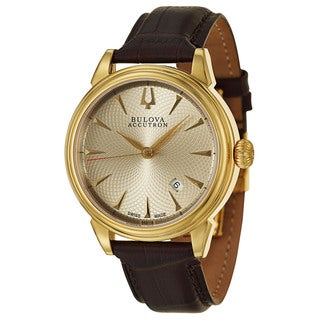 Bulova Accutron Men's 'Gemini' Yellow Gold-Plated Stainless Steel Swiss Mechanical Automatic Watch