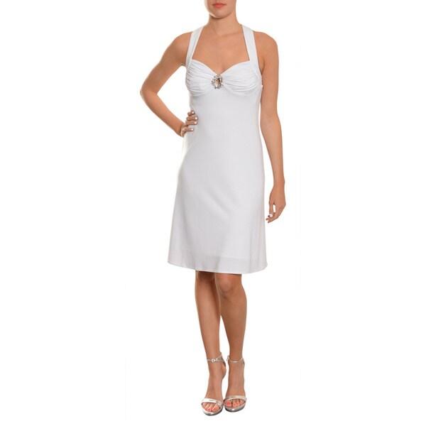 Calvin Klein CK Crisp White Jersey Knit Rhinestone Cocktail Evening Dress