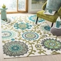 Safavieh Hand-loomed Cedar Brook Ivory/ Light Blue Cotton Rug (4' x 6')
