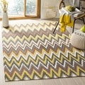 Safavieh Hand-loomed Cedar Brook Brown/ Citron Cotton Rug (4' x 6')