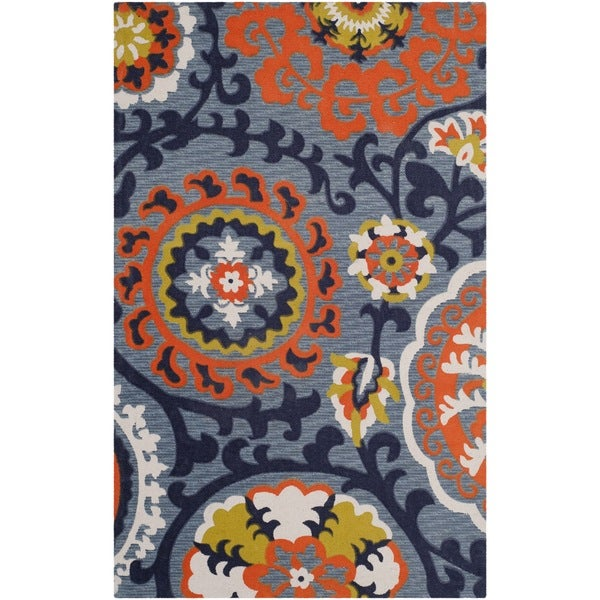 Safavieh Hand-loomed Cedar Brook Blue/ Orange Cotton Rug (2'3 x 3'9)