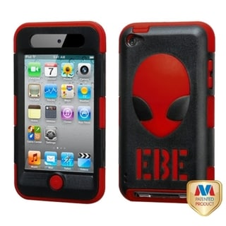 BasAcc Natural Black/ Red AlienHead Hybrid Case for Apple iPod touch 4