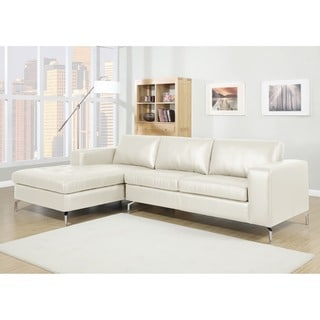 Baxton Studio Lazenby Cream Leather Modern Sectional Sofa