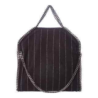 Stella McCartney 'Falabella' Small Navy Pinstripe Fold-over Tote