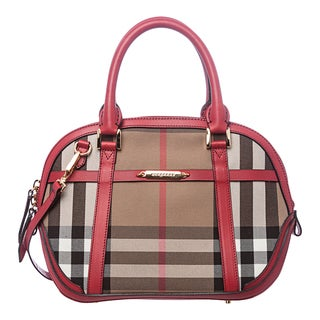 Burberry 'Sartorial Orchard' Small House Check/ Red Satchel