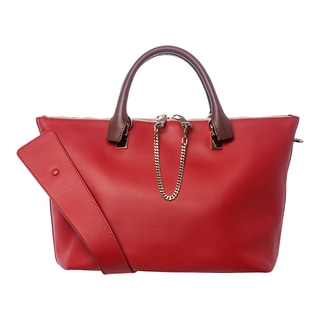 Chloe 'Baylee' Medium Cherry Jelly and Brown Leather Tote