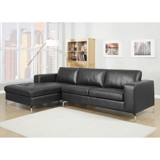 Lazenby Black Leather Modern Sectional Sofa