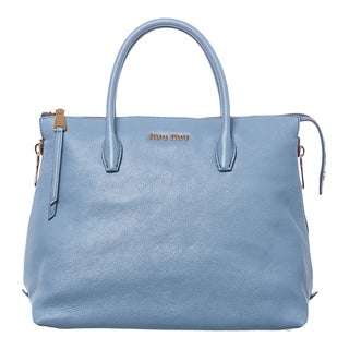 Miu Miu Sky Blue Leather Side-zip Expandable Tote