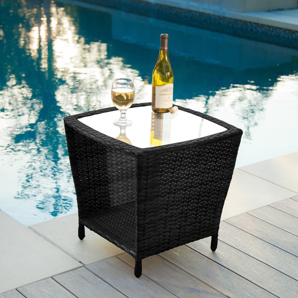 Weston Outdoor Wicker Side Table with Glass Top by Christopher Knight Home 12345991