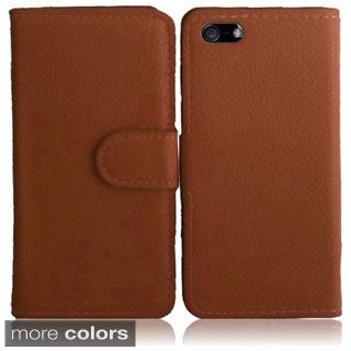 INSTEN Synthetic Leather Wallet Phone Case Cover for Apple iPhone 5