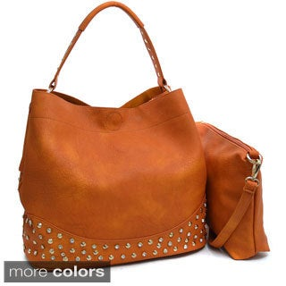 Dasein Large Rhinestone Studded 2-in-1 Shoulder Bag