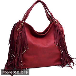 Dasein Studded Fringe Hobo Bag