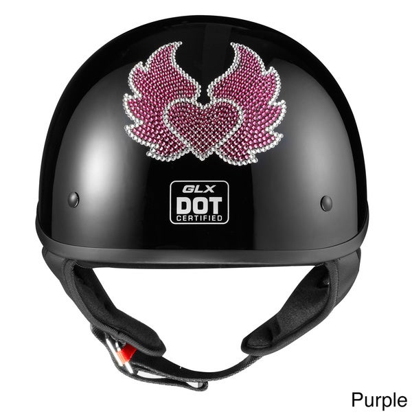 GLX Austrian Crystal Heart and Wing Half Helmet