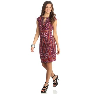 London Times Women's Red/ Orange Printed Keyhole Sheath Dress
