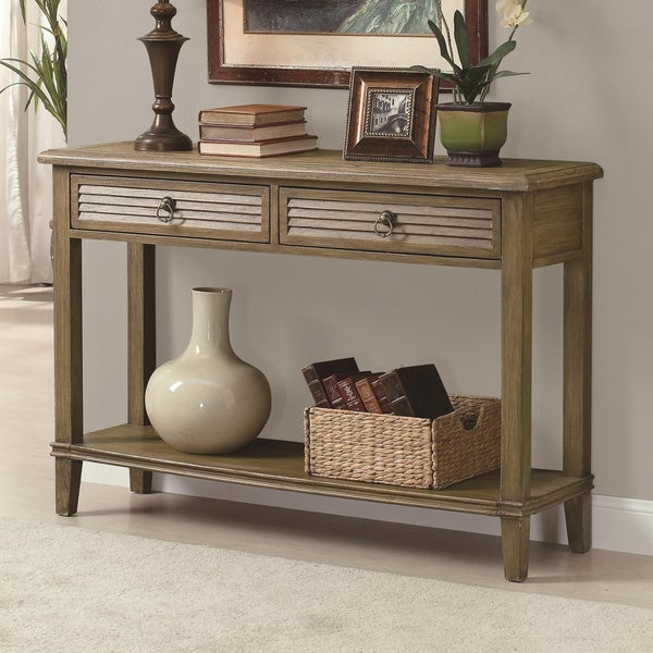 Antique Brown Sofa Table with Shutter-Styled Drawers