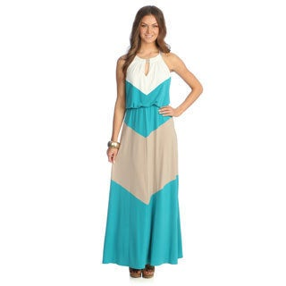 London Times Women's Colorblocked Keyhole Maxi Dress