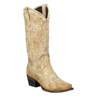 Poison Women's Taupe Mid-calf Leather Cowboy Boots