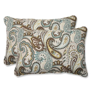 Pillow Perfect 'Tamara Paisley Quartz' Over-sized Rectangular Outdoor Throw Pillow (Set of 2)