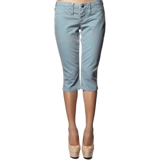 Stitch's Women's Blue Slim Fit Denim Capri Pants