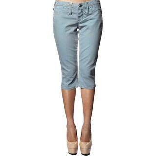 Stitch's Women's Blue Slim Fit Denim Capri Pants