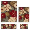 Contemporary Lagoon 4520 Multicolored Area Rugs (Set of 4)