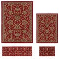 Contemporary Lagoon 4590 Red Area Rugs (Set of 4)