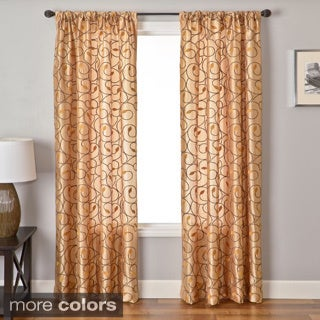 Sari Embroidered Scroll on Faux Silk Curtain Panel