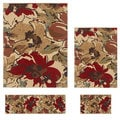 Contemporary Lagoon 4570 Beige Area Rugs (Set of 4)