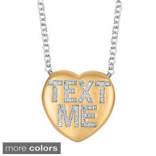 Sweethearts Diamond Accent 'Text Me' Sentiment Heart Necklace (H-I, SI1-SI2)