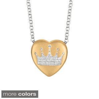 Sweethearts Diamond Accent Crown Heart Necklace (H-I, SI1-SI2)