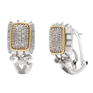 14k Yellow Gold and Stainless Steel 1/6ct TDW Clip Diamond Earrings (H-I, SI1-SI2)