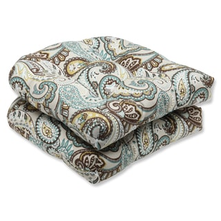 Pillow Perfect 'Tamara Paisley Quartz' Outdoor Wicker Seat Cushion (Set of 2)