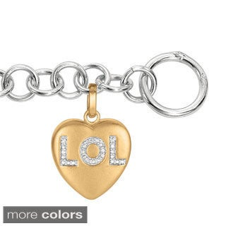 Sweethearts Diamond Accent 'LOL' Sentiment Heart Bracelet (H-I, SI1-SI2)